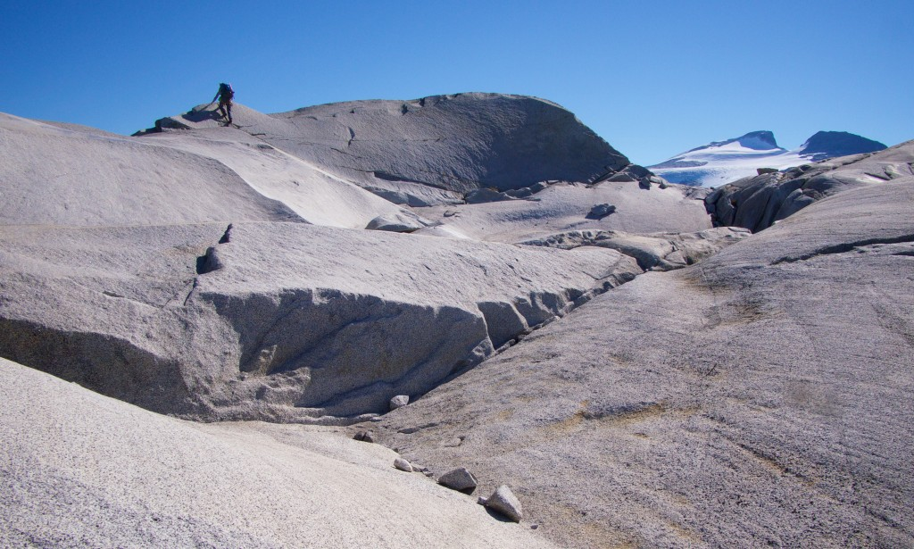Spencer on granite slabs above Princess Louisa Inlet (Photo: S. Higgs)