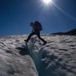 Stuart happily swapping bushwhacking for crevasse hopping on Bon-bon glacier (Photo: S. Rasmussen)