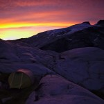 Alpine glow on our camp below Mt John Clarke (Photo: S. Rasmussen)