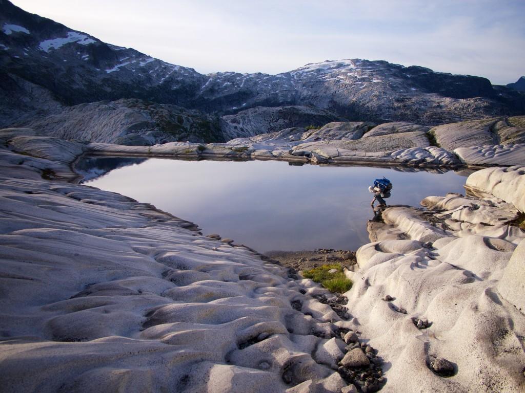 Spencer at tarn below Mt John Clarke (Photo: S. Higgs)