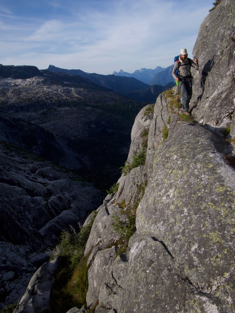 Spencer channeling his inner mountain goat above Princess Louisa Inlet (Photo: S. Higgs)