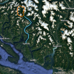 Regional overview of route. Kayak portion shown in blue, alpine portion shown in orange.