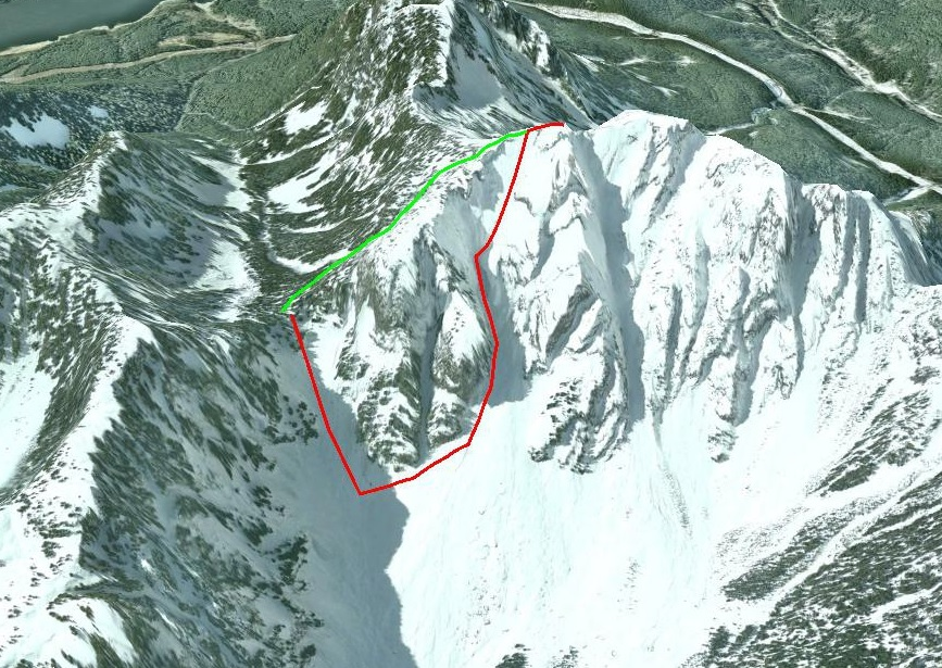 Crown Mountain. Ascent from Crown Pass via the Crater Couloir (red), and descent via the Standard Route (green). Google Earth image.