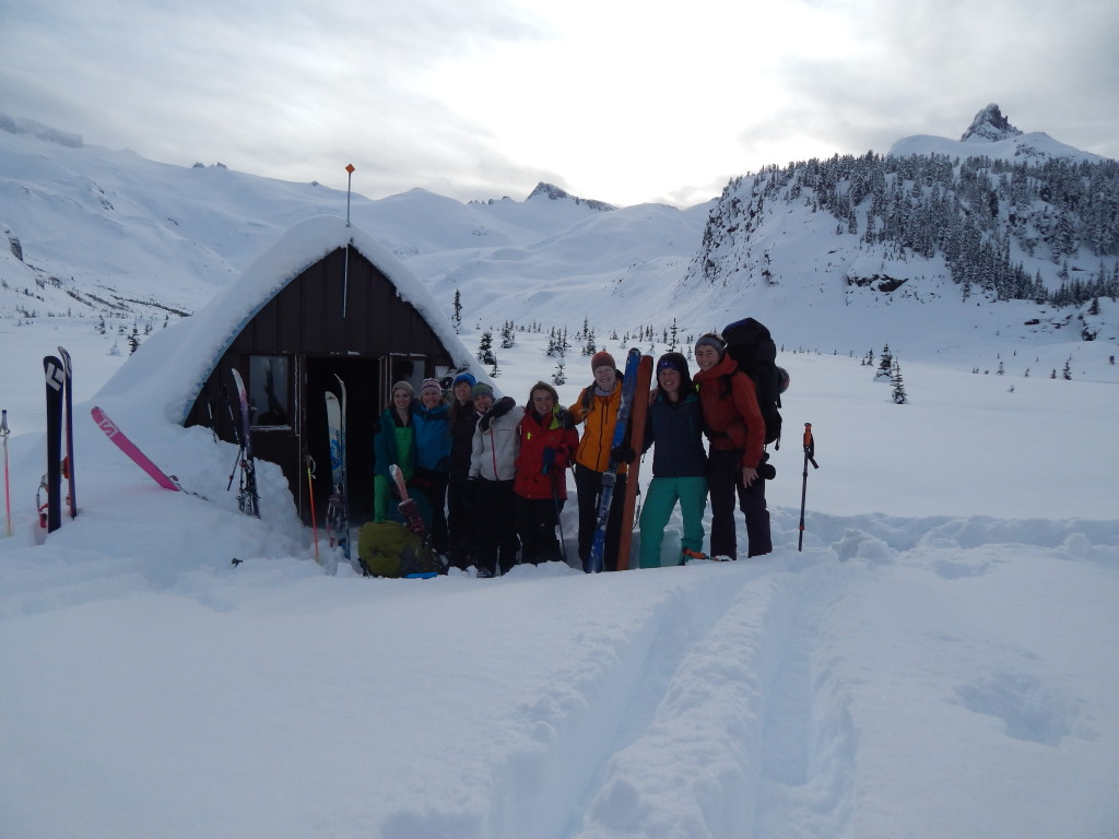 All of us outside Sphinx hut, ready to start skiing back.