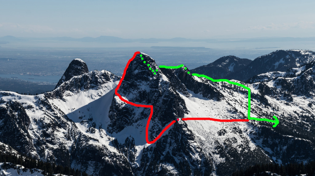 The West Lion. Ascent via the Northeast Buttress with North Face bypass (red) and descent via rappels down the Tourist Route and Lions-Binkert trail (green). Photo taken from Mt. Brunswick.