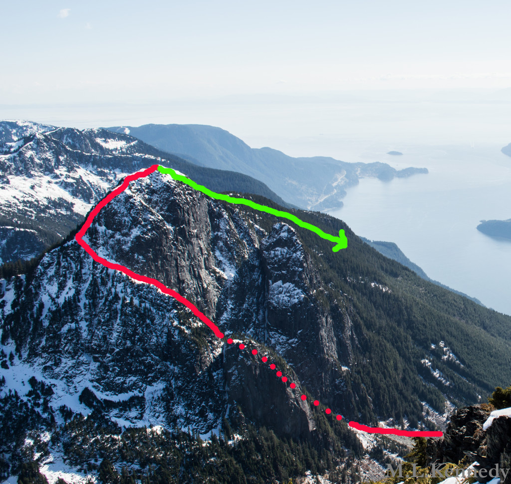 Mount Harvey. Ascent via the North Ramp (red), descent via the Standard Route (green). Photo taken from Mt. Brunswick.