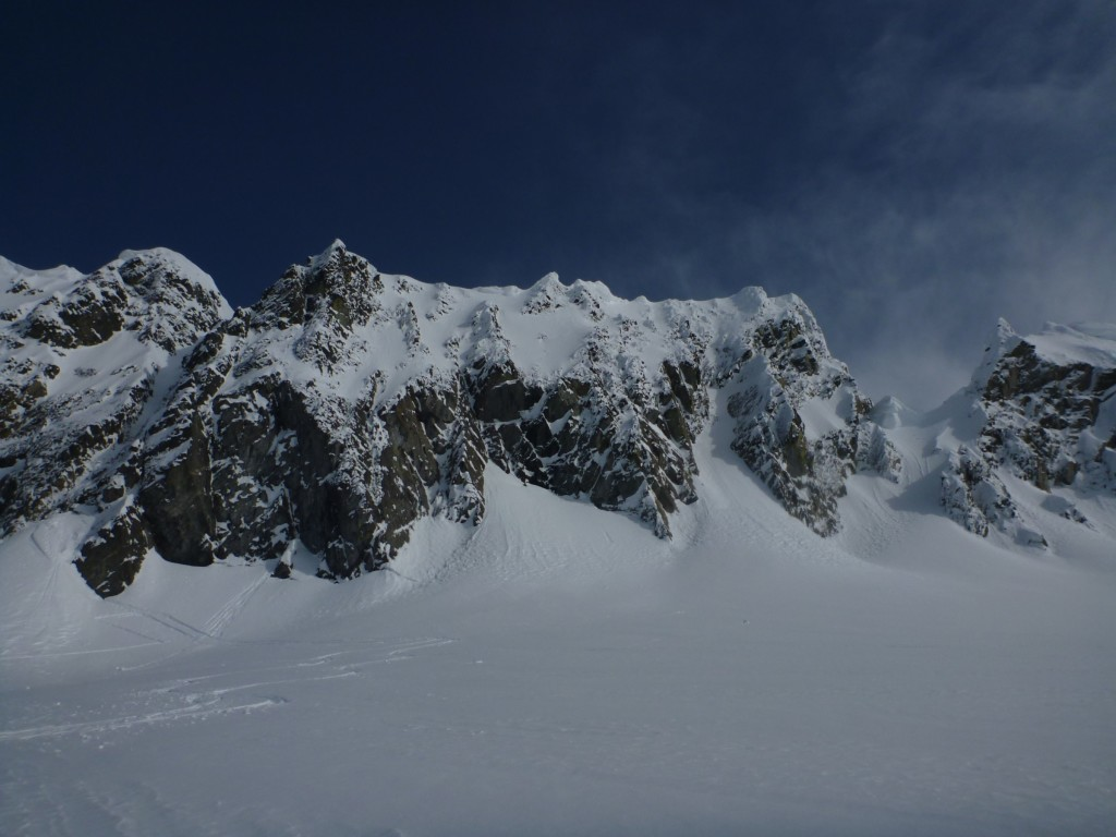 Gunsight peak. The notch is on the far right. The gully we climbed is on the far left. Photo: Julien Renard