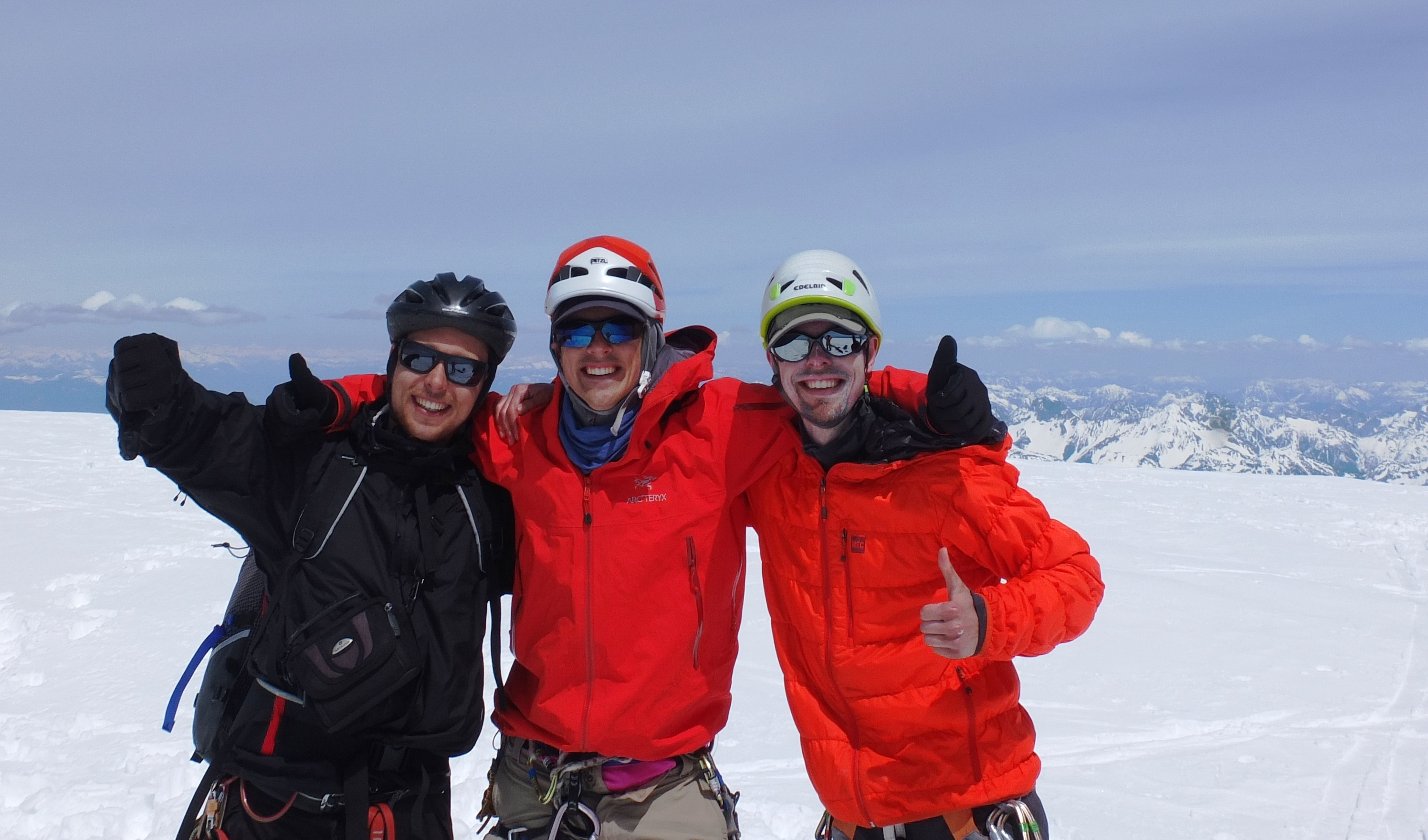 Summit! Martin, Elliott and Mirko. Notice the bicycle helmet - a testament to our ways!