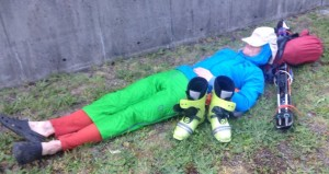 Lena photographed me asleep on the lawn in front of Canadian Tire. My only photo from the trip.