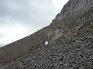 Coming down the scree