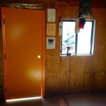 The new door at Harrison Hut 2017 before the passenger is installed.