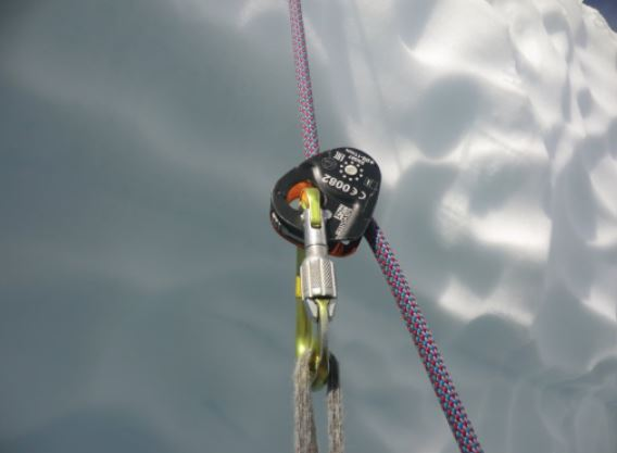 Petzl Micro-Traxion device used as an ascender. Photo Julien Renard.