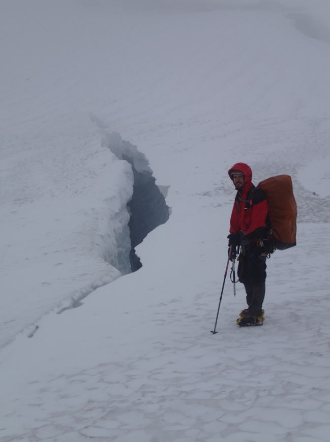 Julien is scoping out crevasses for us to practise. Photo Matt Van Ootsdam.