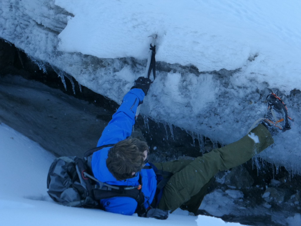 Romain climbing out of a crevasse (1 m deep)