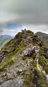 Carly on the Aonach Eagach Ridge