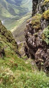 The steep drop below - Aonach Eagach