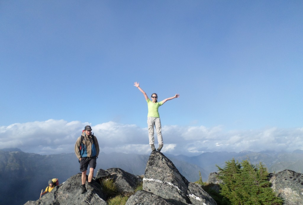 Sarah Taylor celebrating Terror Peak, the third already of the trip on the first day of hiking.