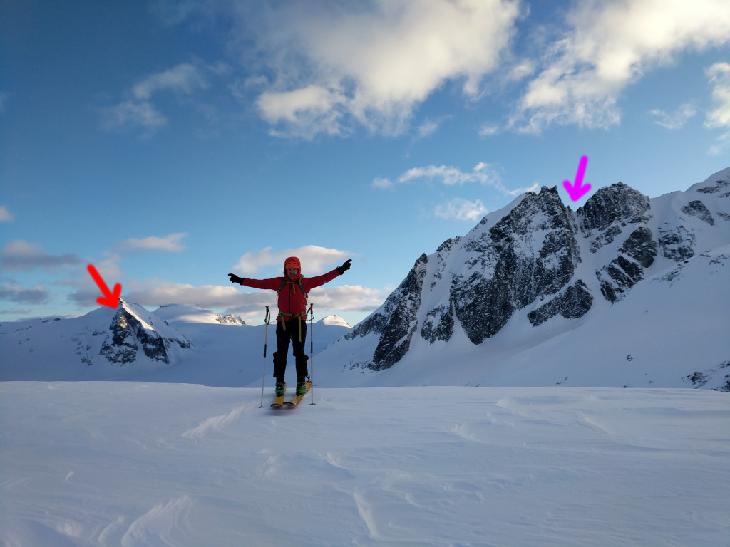 Nick points to both the lines we skied on Sunday. Northwest couloir of Eureka (red arrow) to his right and north couloir of The Owls (purple arrow), to his left.