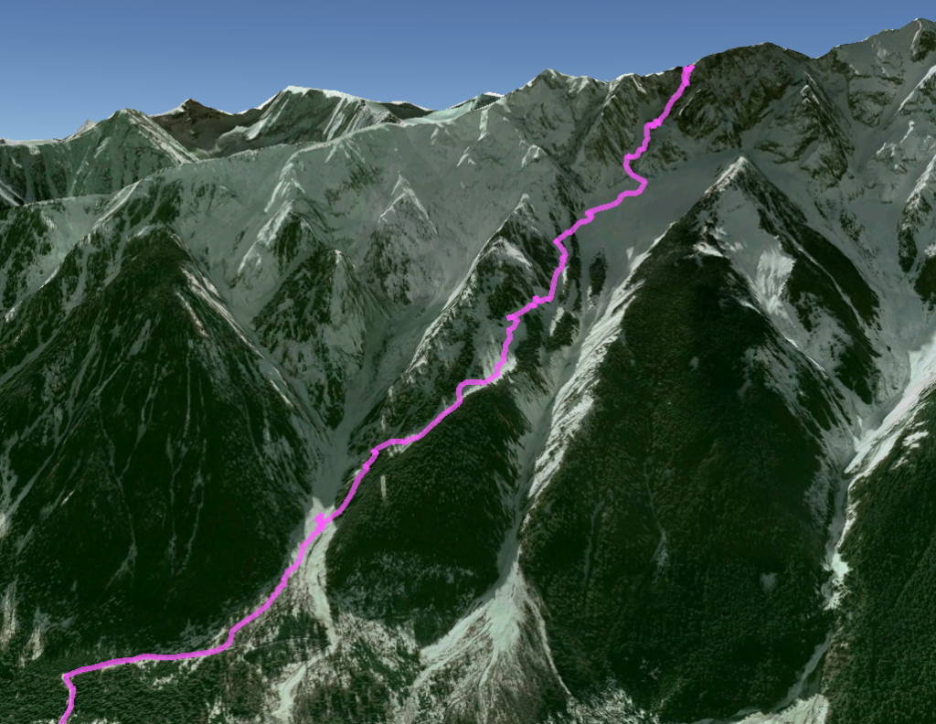 Our actual route down Zorro's couloir and back to the truck.