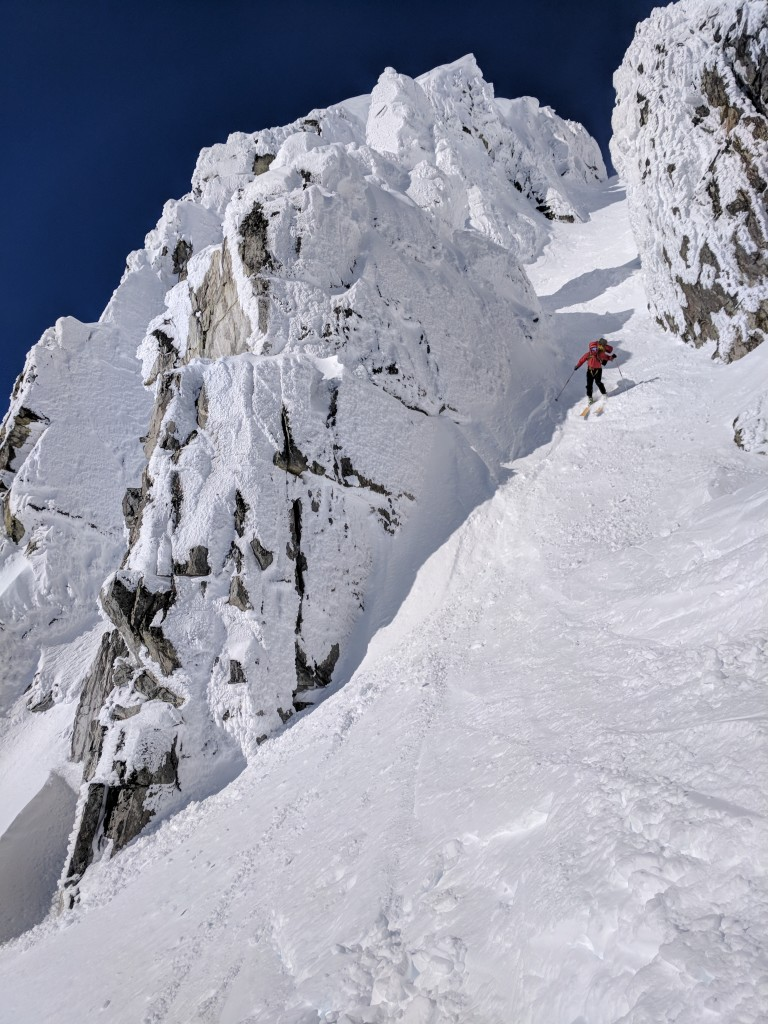Nick skiing down a very pretty 'Cham' Chute in the Blackcomb Slack-country
