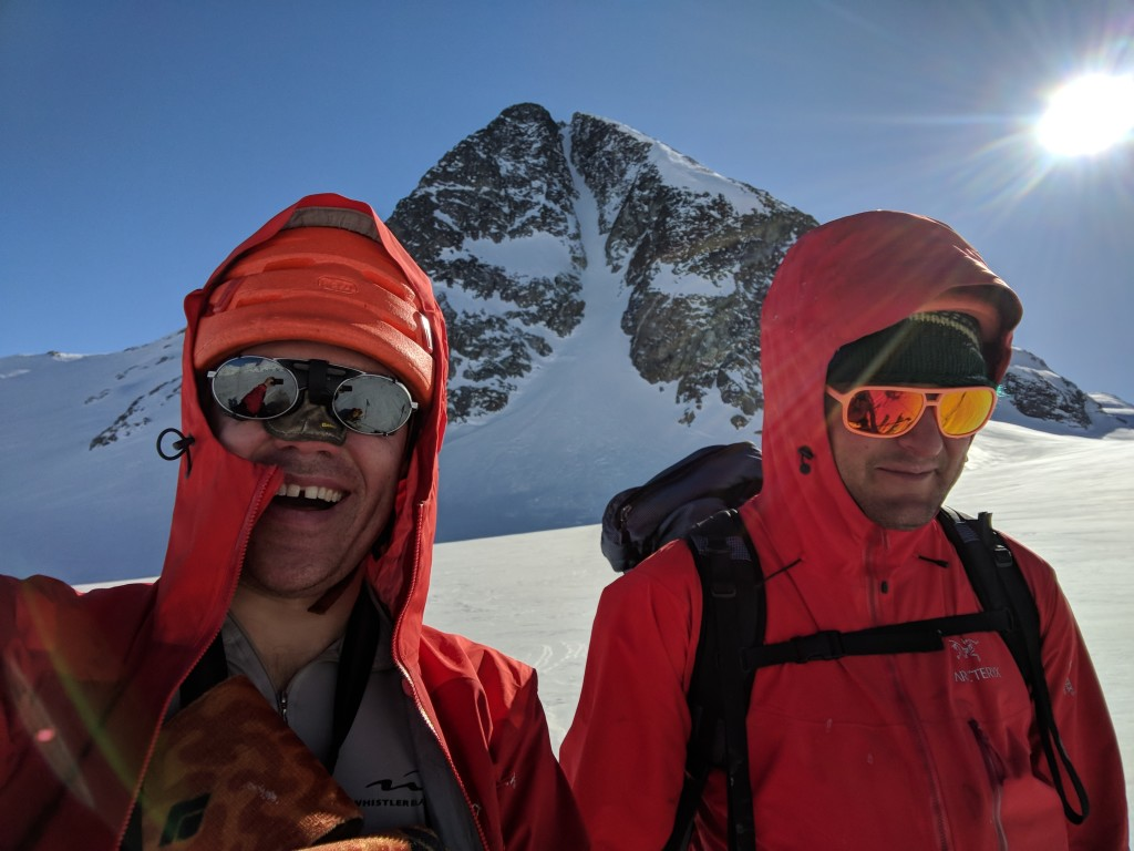 Selfie Success with Eureka NW couloir in the backgound.