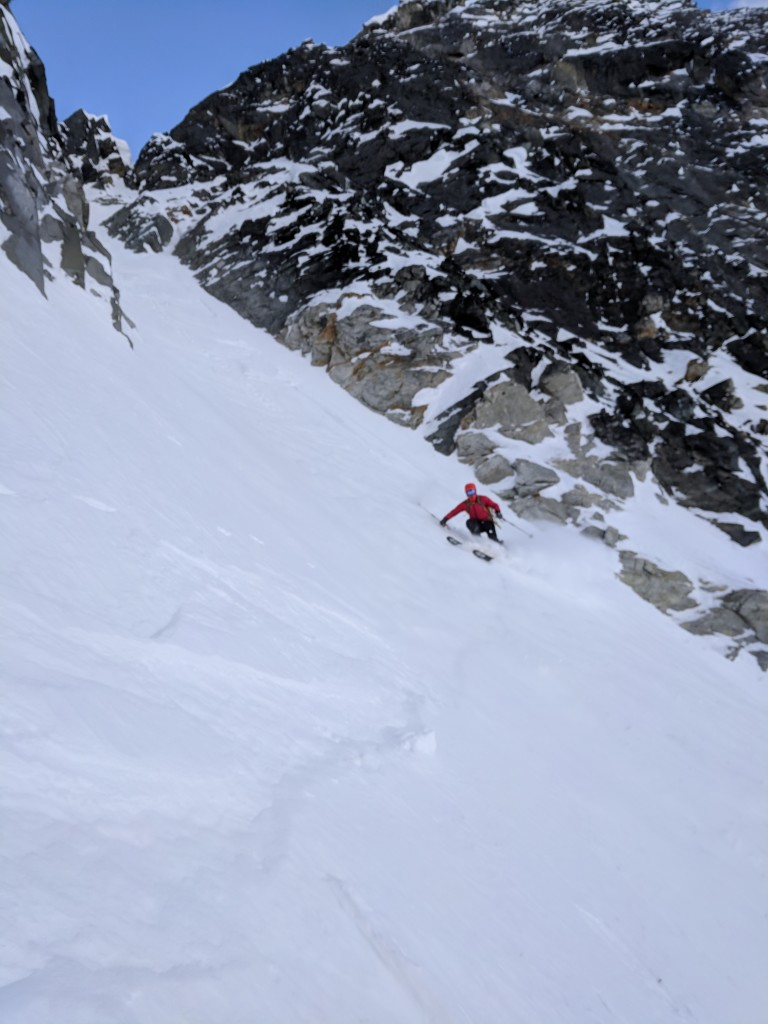 Nick makes one of many turns down the steep slope.
