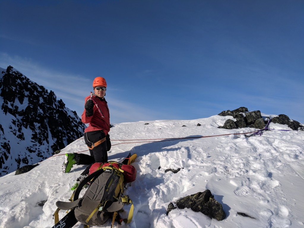 Nick getting ready to rappel into zorro's couloir.