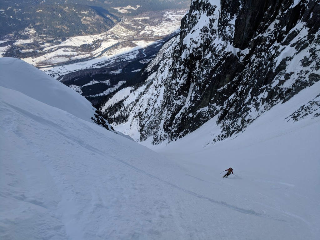 Nick enjoying our first powdery couloir.