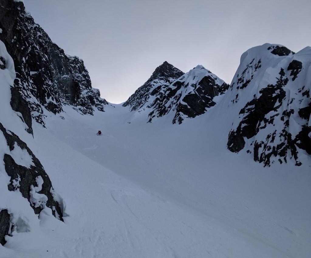 Olek skiing, close to the top of zorro's.