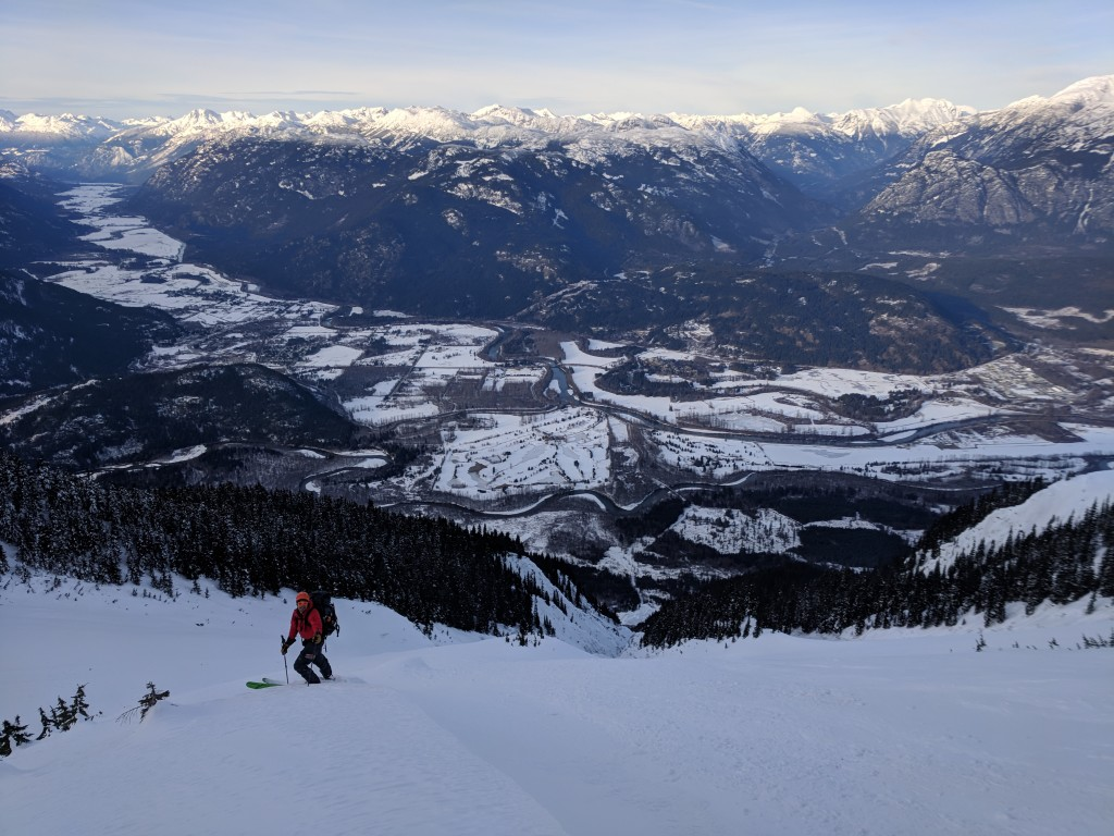 Olek, with Pemberton in the background. Naively believing that the technical skiing was finished.