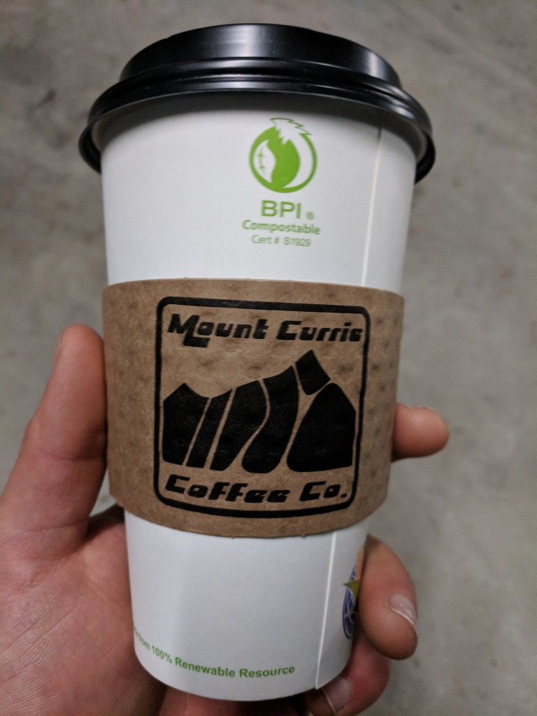 Mount Currie Coffee company cup to depict the ski lines.