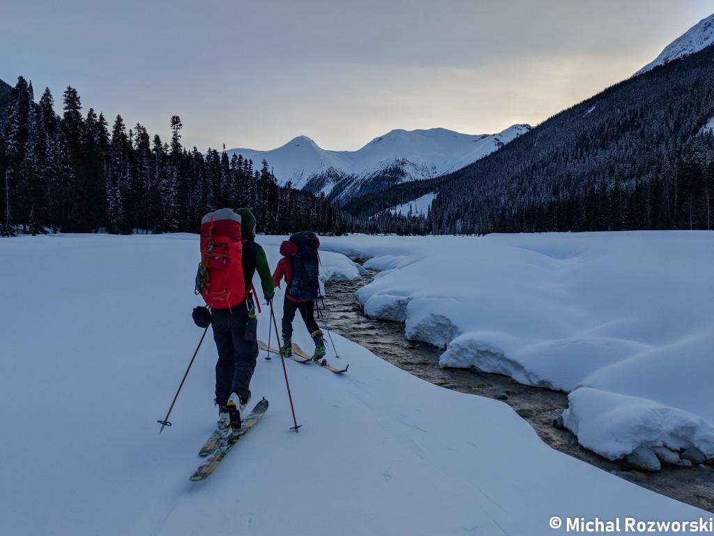 Nick and Skyler, skinning beside Salal Creek. Photo: Michal Rosworski