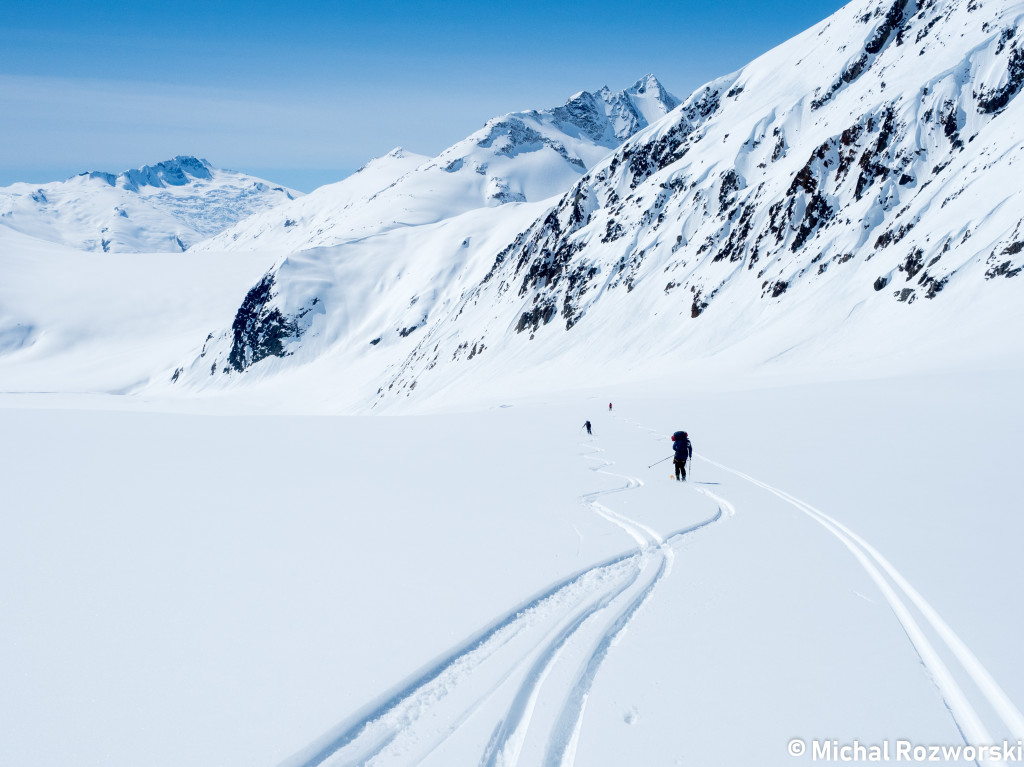 Skiing down to the Ring Glacier. We wisely chose to keep right.