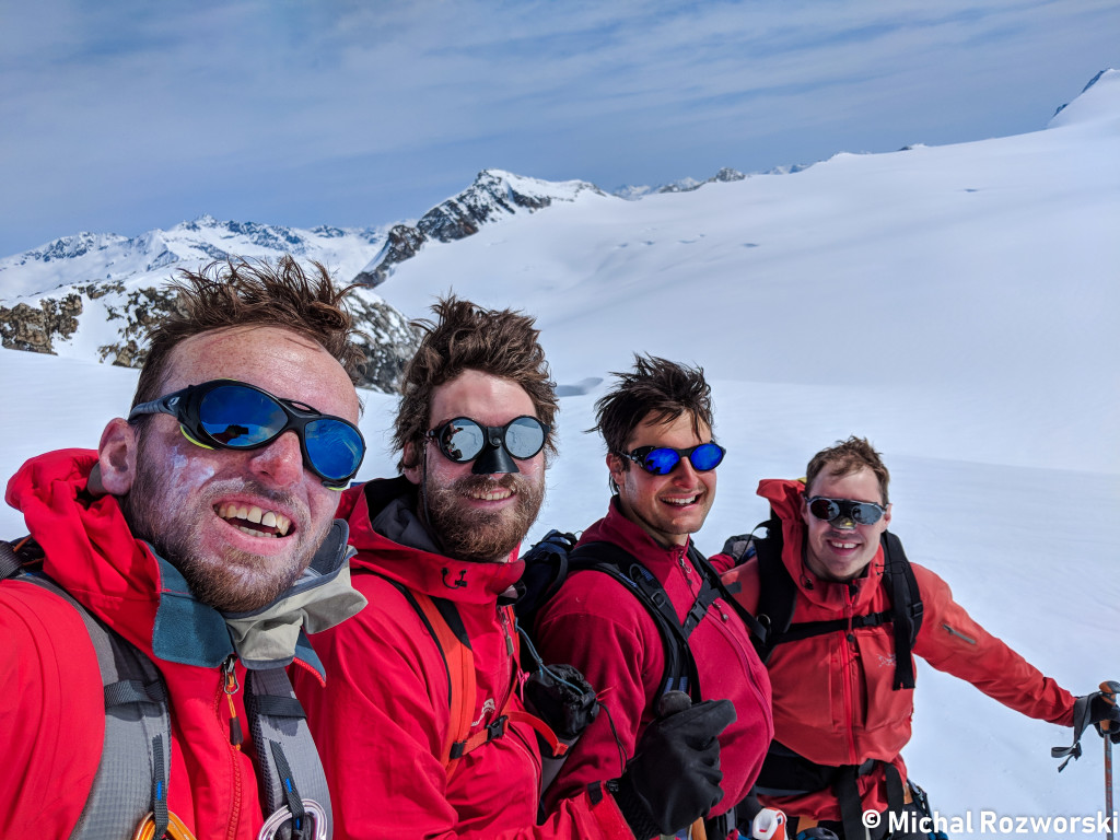 Team red team showing off their bad hair on the way off of Lillooet Mountain. Photo: Michal Rosworski