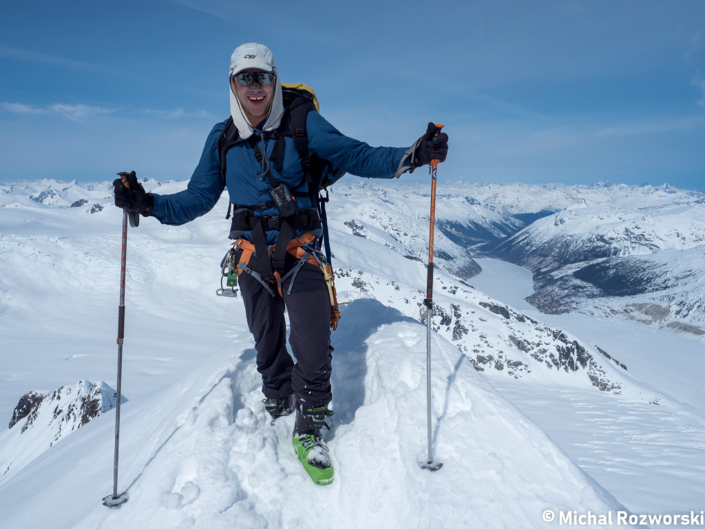 "Nick on the summit of Lillooet Mountain.  The ""scalp"" of the headwaters. Photo: Michal Rosworski"