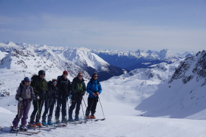 Una, Robert, Christine, Adam, Nick and Hans on the ridge east of Aragorn Peak. Photo: Jake Blanco