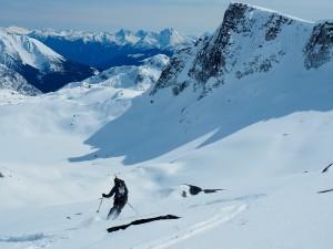 Nick skiing down the ridge. Photo: Jake Blanco