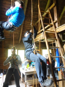 Ascending ropes in Keith's hut (photo by Christine Beaulieu)