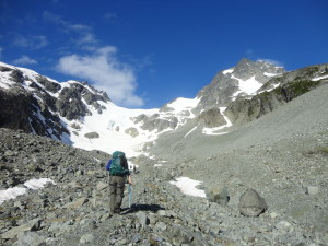 Walking to Anniversary Glacier on a beautiful day! (photo by Christine Beaulieu)