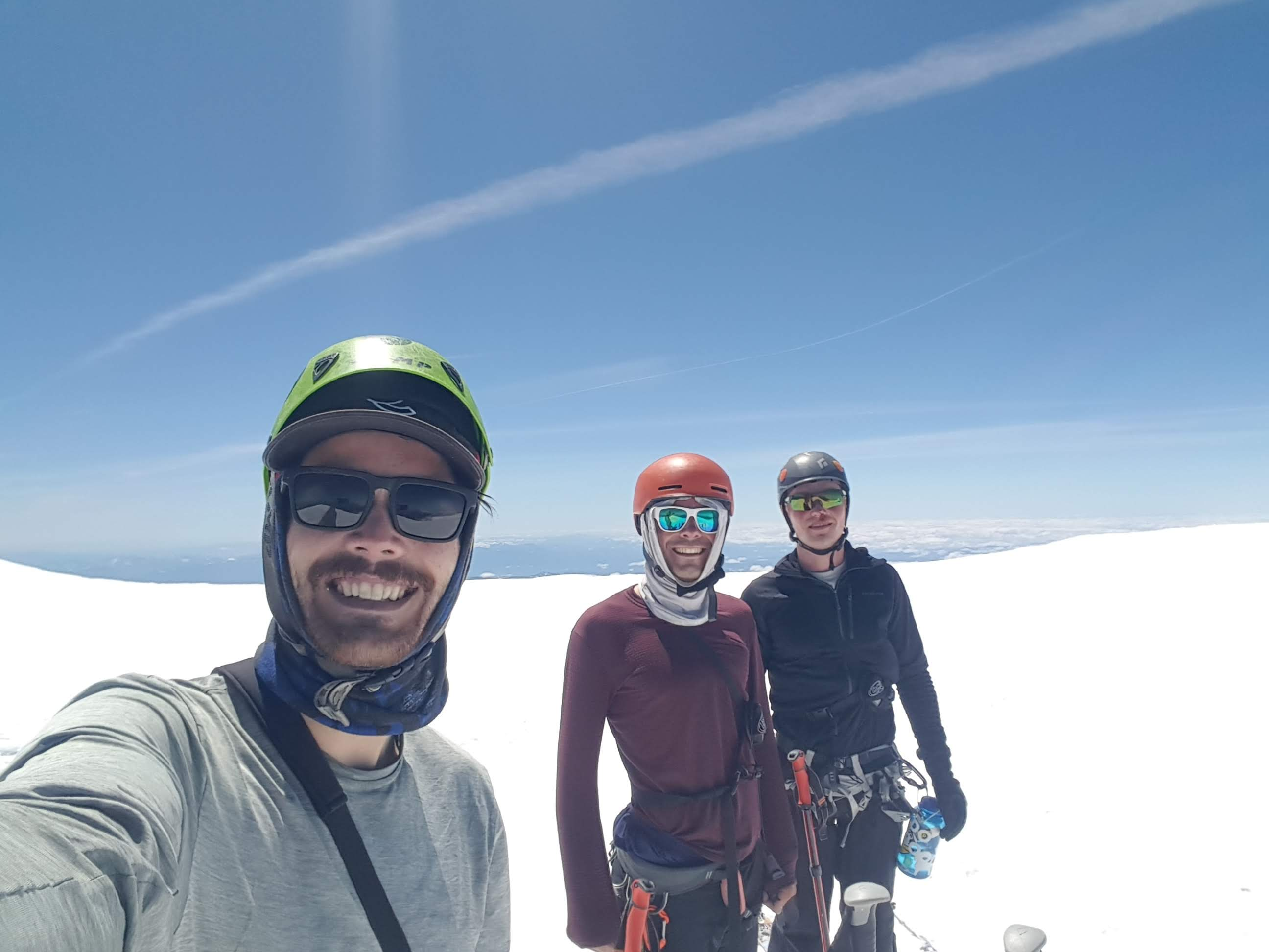 Summit selfie - as you do. From left to right, Duncan, Tobias, Justin. Photo cred: Duncan Pawson