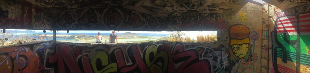 Looking out at Kailua Bay and Kaneoha Bay from a bunker on a hill.