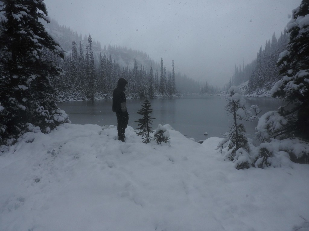 This is our tent site the next morning. We fell asleep in fall and woke  25cm deep into winter.