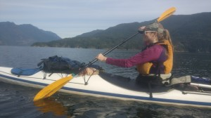 Alex kayaking up Sechelt Inlet