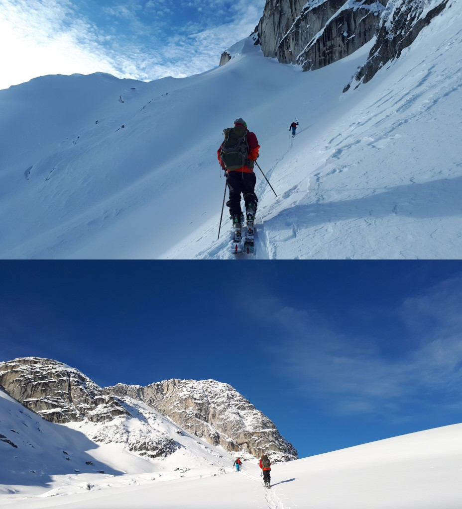 Will leading the way up to the colouir with Cody following. The entrance is at the far left of the bottom photo below the cliff bands.