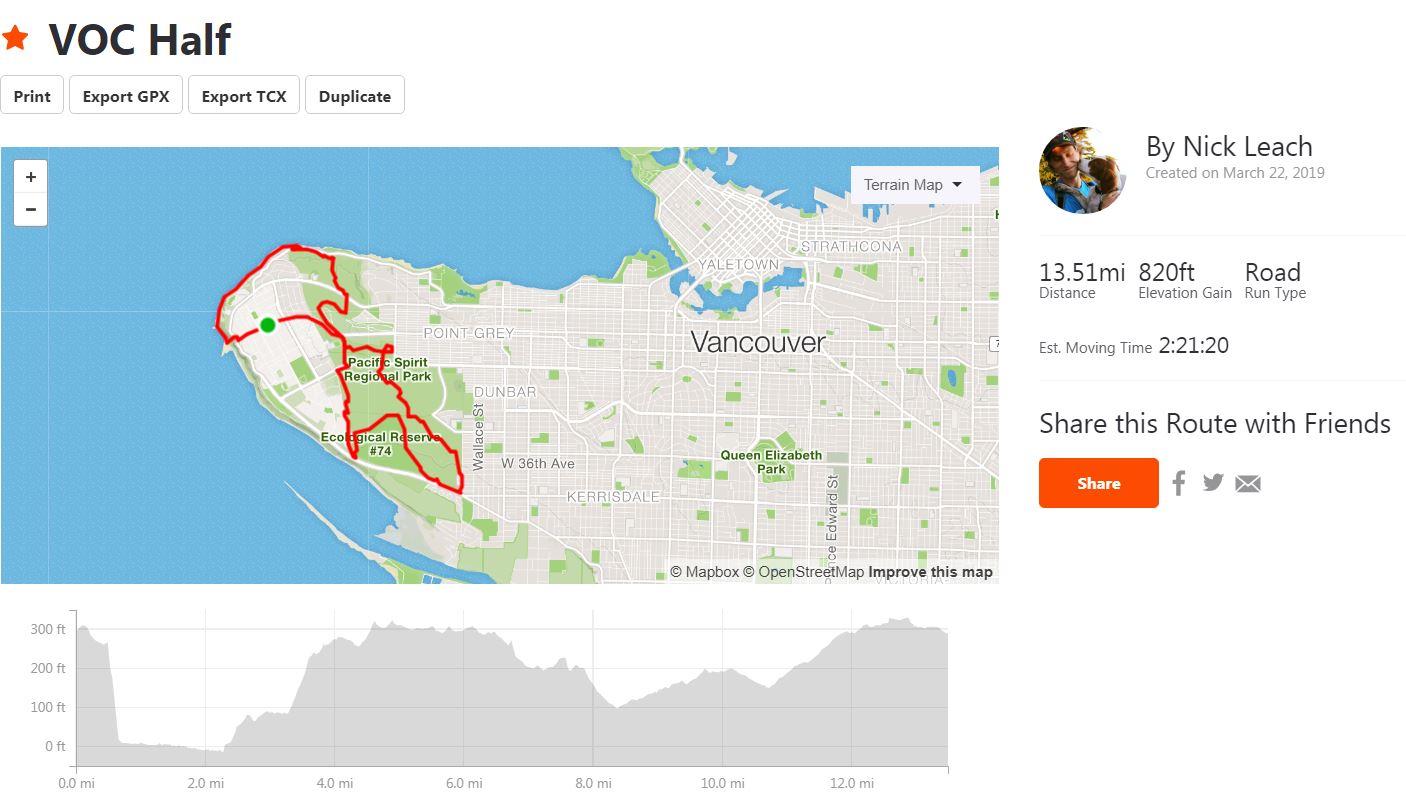 2019 VOC Half-Marathon Course
