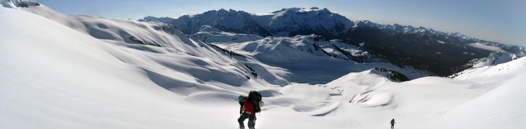 Nick hiking up the Diamond glacier. Photo credit: Freek