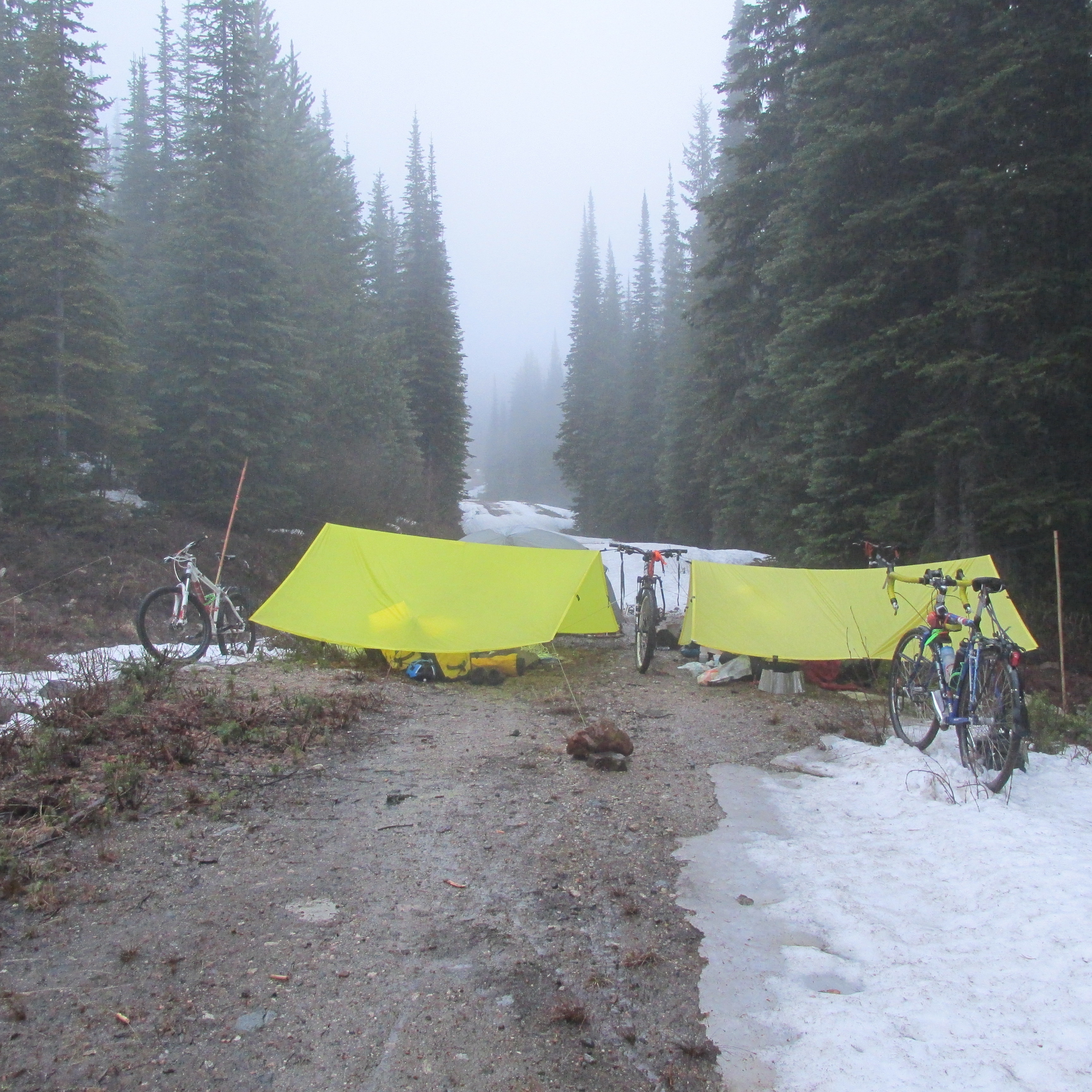 Camp Misery, on Mount Baldy's rain-and-slush sodden cat track. Photo by Elliott Skierszkan.