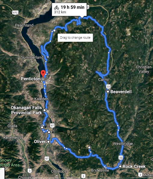 A rough overview of our cycling route.