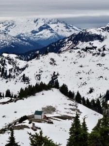 Mount Brew and Outhouse visible from Brew Peak. Photo Cred: Erica Haugland