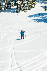 Melissa Bernstein trying her best to look cool tele skiing. (Photo by Vin Sanity)